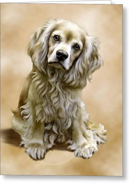 Spaniel Digital Art Greeting Cards - Toby Greeting Card by Barbara Hymer