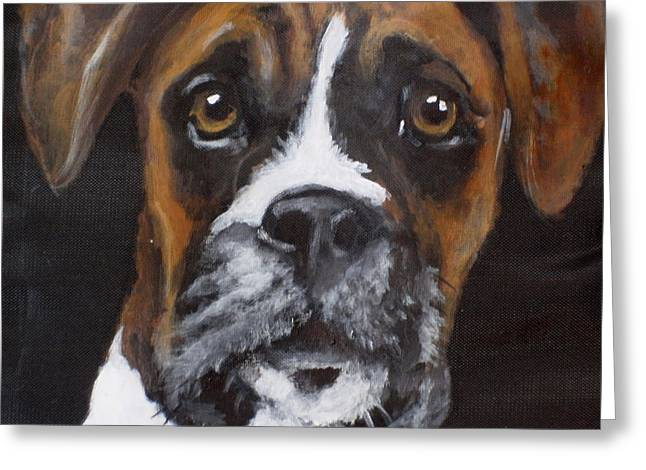 Puppies Paintings Greeting Cards - Toby Greeting Card by Carol Russell