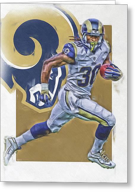 Todd Gurley Los Angeles Rams Oil Art Greeting Card by Joe Hamilton