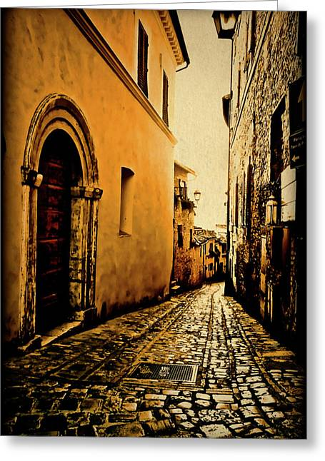 Maggie Vlazny Greeting Cards - Todi Italy Side Street  Greeting Card by Maggie Vlazny