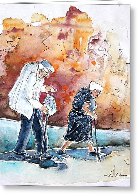 Travel Sketch Drawings Greeting Cards - Together Old in Portugal 01 Greeting Card by Miki De Goodaboom