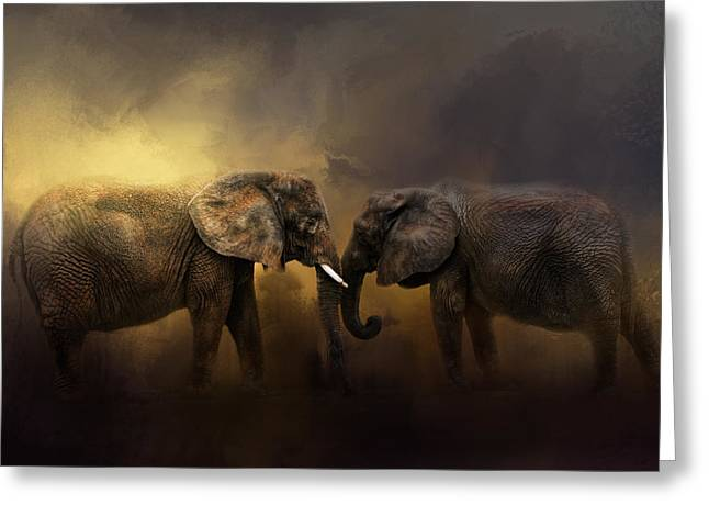 Love The Animal Greeting Cards - Together Through The Storms Greeting Card by Jai Johnson