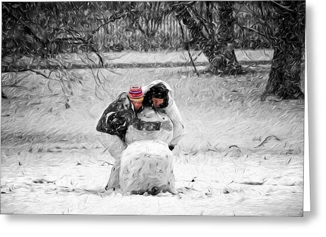 Girl In Snow Greeting Cards - Together We Can Greeting Card by Steven  Michael
