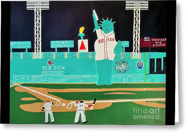Fenway Park Paintings Greeting Cards - Together We Stand Greeting Card by Dennis ONeil