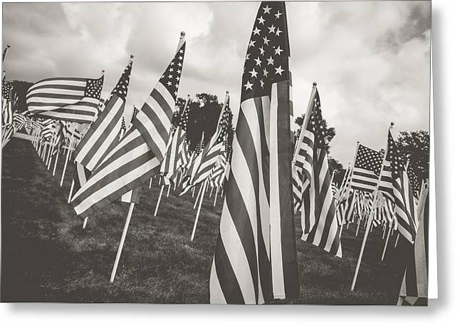 American Flag Pyrography Greeting Cards - Together We Stand Greeting Card by Matthew Goodman