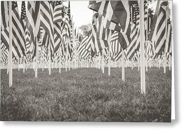 American Flag Pyrography Greeting Cards - Together We Stand Two Greeting Card by Matthew Goodman