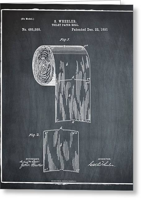 Toilet Paper Roll Patent 1891 Chalk Greeting Card by Bill Cannon