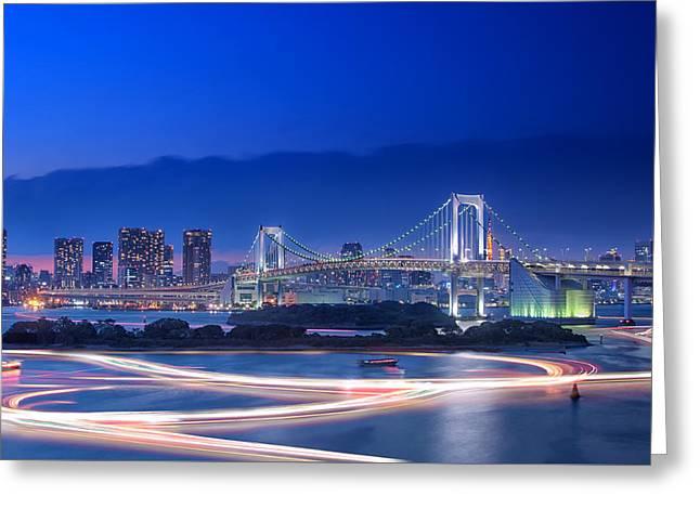 Famous Bridge Greeting Cards - Tokyo Bay Greeting Card by Duane Walker