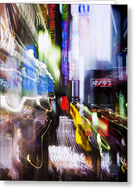 Asian Influence Greeting Cards - Tokyo Color Blurs Greeting Card by Bill Brennan - Printscapes