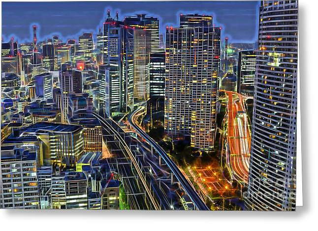 Tokyo Skyline Greeting Cards - Tokyo Japan Skyline Greeting Card by Marvin Blaine