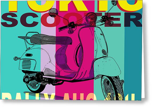Rally Greeting Cards - Tokyo Scooter Rally Blue Square Greeting Card by Edward Fielding