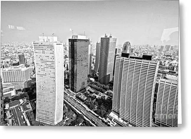 Tokyo Skyline Greeting Card by Pravine Chester