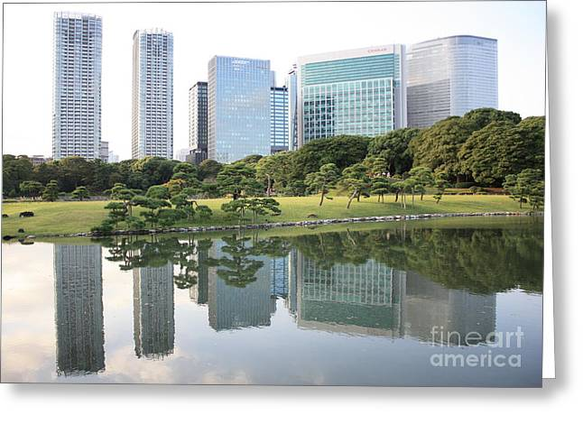 Reflection On Pond Greeting Cards - Tokyo Skyline Reflection Greeting Card by Carol Groenen