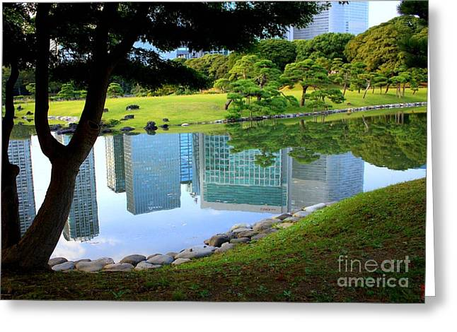 Buildings Reflecting In Water Greeting Cards - Tokyo Skyscrapers Reflection Greeting Card by Carol Groenen