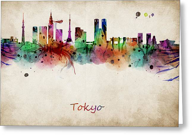 Abstract Digital Art Greeting Cards - Tokyo watercolor skyline Greeting Card by Mihaela Pater