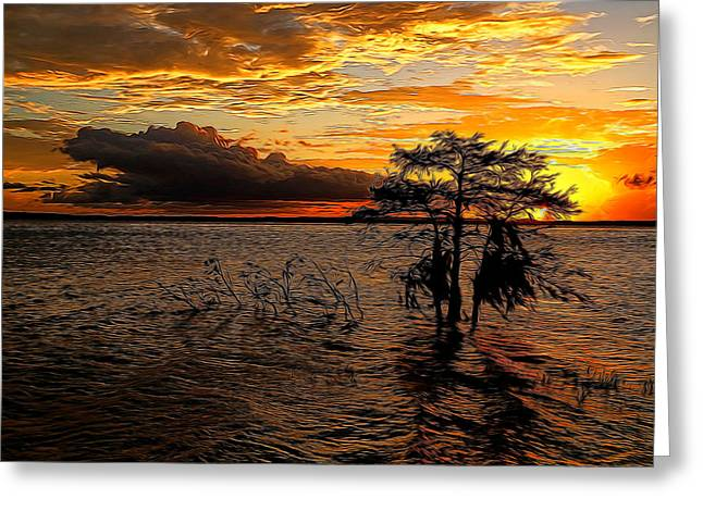 Toledo Bend Sunset Painted Greeting Card by Judy Vincent