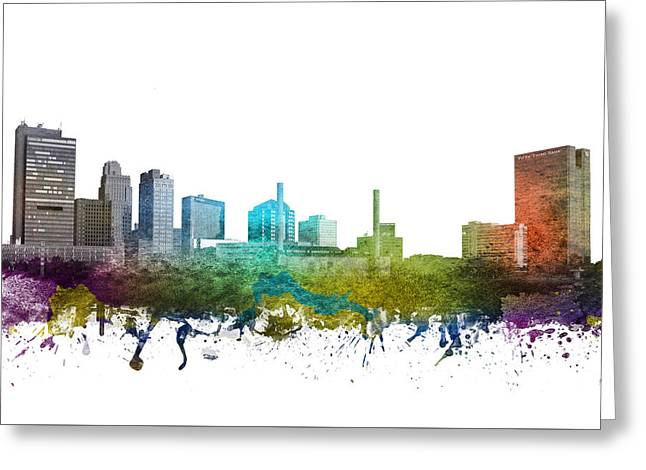 Rainbows Drawings Greeting Cards - Toledo Cityscape 01 Greeting Card by Aged Pixel