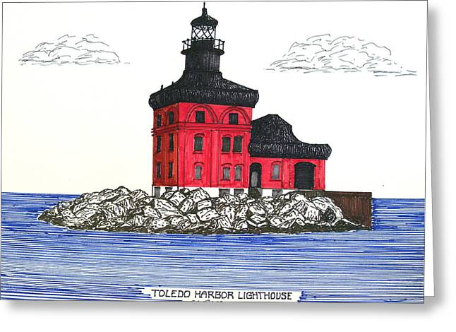 Ink Greeting Cards - Toledo Harbor Lighthouse Greeting Card by Frederic Kohli