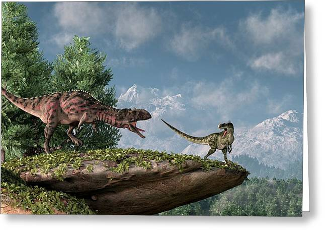 Paleoart Greeting Cards - Tolerate No Competition  Greeting Card by Daniel Eskridge