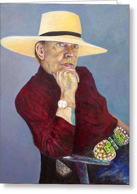 Toller Cranston With Hat Greeting Card by Andrew Osta