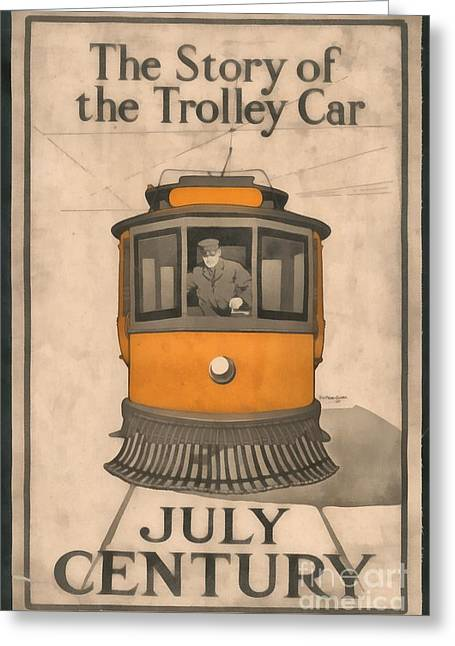 Trolley Greeting Cards - Tolley Car Vintage Greeting Card by Edward Fielding