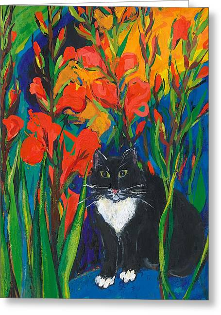 Gladiolus Greeting Cards - Tom and Gladioli Greeting Card by Sarah Gillard