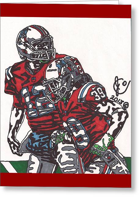 Player Greeting Cards - Tom Brady and Danny Woodhead Greeting Card by Jeremiah Colley