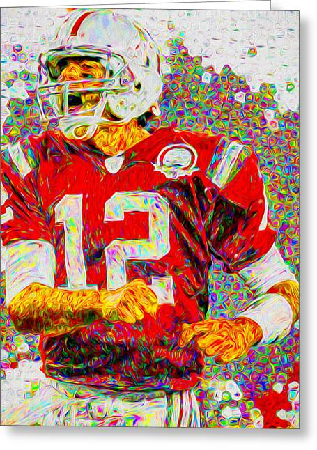 Tom Brady New England Patriots Football Nfl Painting Digitally Greeting Card by David Haskett