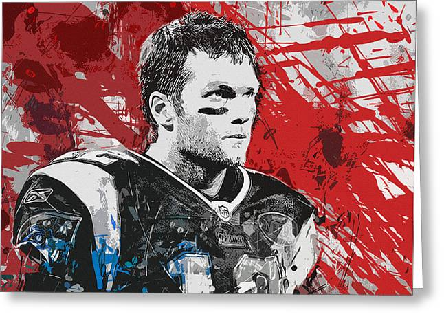 Offense Paintings Greeting Cards - Tom Brady Red White and Blue Greeting Card by John Farr
