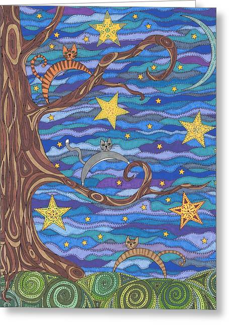 Moonlit Night Drawings Greeting Cards - Tom Cattin Greeting Card by Pamela Schiermeyer