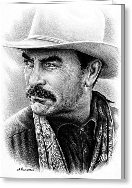 Mustache Greeting Cards - Tom Selleck as Monty Walsh Greeting Card by Andrew Read
