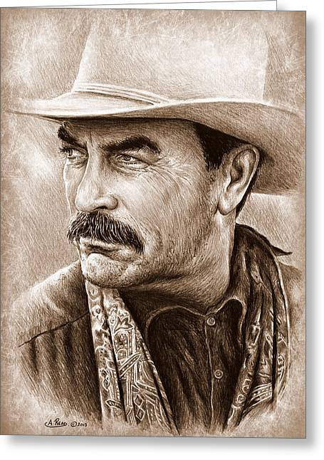 Tom Selleck The Western Collection Greeting Card by Andrew Read