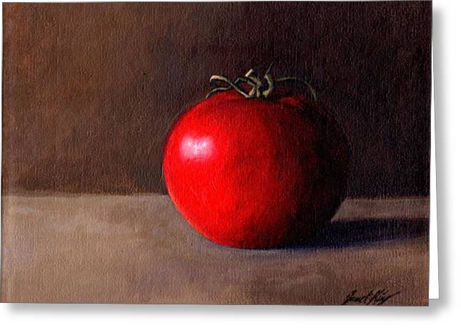 Janet King Paintings Greeting Cards - Tomato Still Life 1 Greeting Card by Janet King