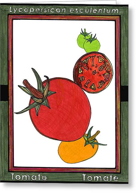 Spaghetti Drawings Greeting Cards - Tomato Tomate Greeting Card by Baya Clare