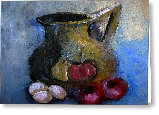 Ewer Paintings Greeting Cards - Tomatoes and Eggs Still-Life Greeting Card by Lisa Kaiser