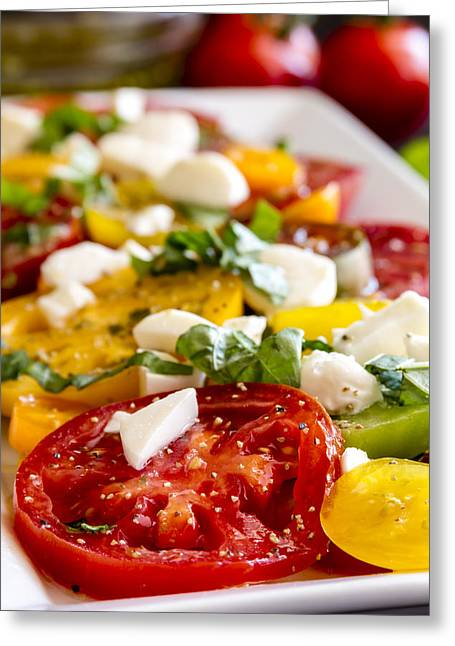 Olive Oil Greeting Cards - Tomatoes, Basil and Cheese Greeting Card by Teri Virbickis