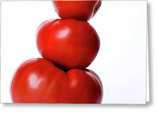 Compositions Photographs Greeting Cards - Tomatoes Greeting Card by Bernard Jaubert