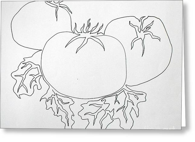 Tomoato Greeting Cards - Tomatoes on a Vine in One Line Greeting Card by Vicki  Housel