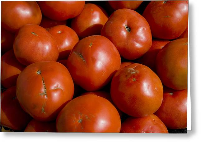 Tomatoes Sit In The Sun Awaiting Buyers Greeting Card by Stephen St. John