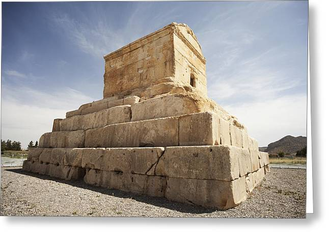 Place Of Burial Greeting Cards - Tomb Of Cyrus The Great  Pasargadae Greeting Card by Chris Bradley