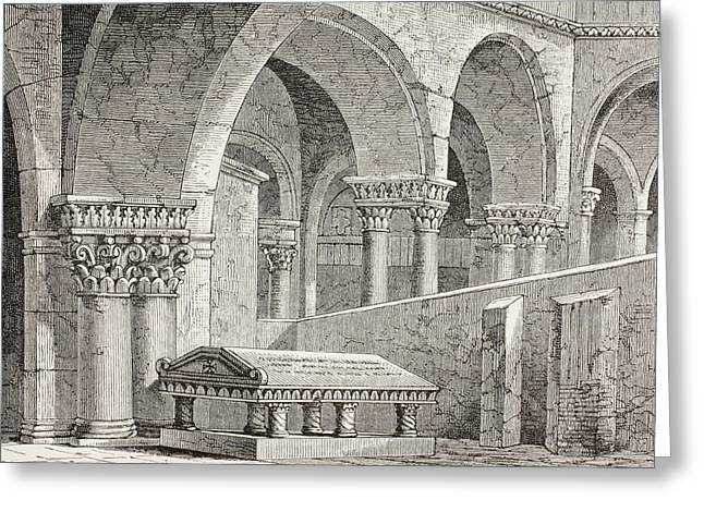Sepulchre Drawings Greeting Cards - Tomb Of Godfrey De Boullon, C 1060 - Greeting Card by Vintage Design Pics
