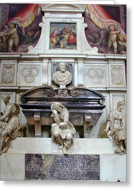 Religious Greeting Cards - Tomb of Michelangelo Greeting Card by Joseph R Luciano