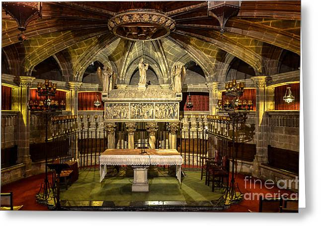 Tomb Of Saint Eulalia In The Crypt Of Barcelona Cathedral Greeting Card by RicardMN Photography