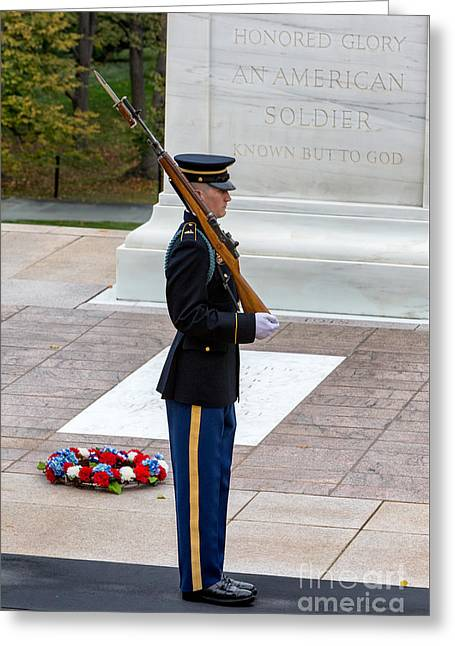 Tomb Of The Unknowns Guard Greeting Card by Jerry Fornarotto
