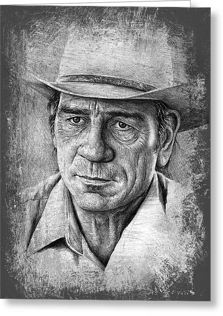 Cowboy Sketches Greeting Cards - Tommy Lee Jones Greeting Card by Andrew Read
