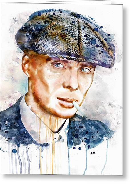 Murphy Greeting Cards - Tommy Shelby watercolor Greeting Card by Marian Voicu