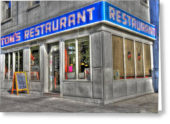 Tom's Restaurant Of Seinfeld Fame Greeting Card by Randy Aveille
