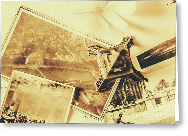 Toned Image Of Eiffel Tower And Photographs On Table Greeting Card by Jorgo Photography - Wall Art Gallery