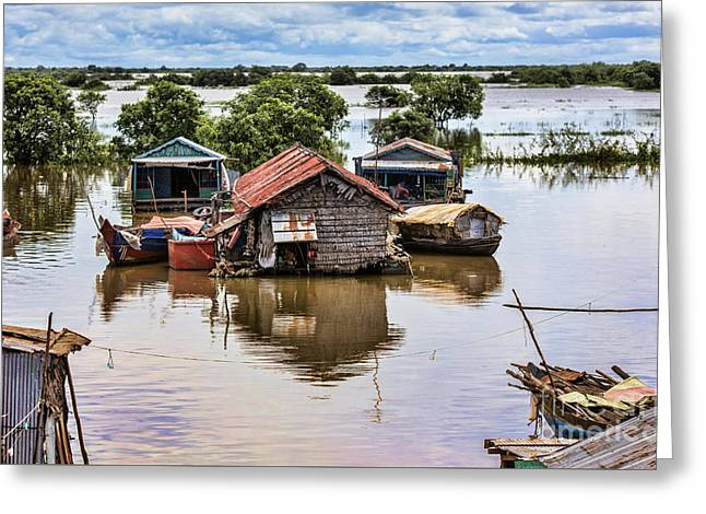 Lake House Greeting Cards - Tonle Sap houses  Greeting Card by Chuck Kuhn
