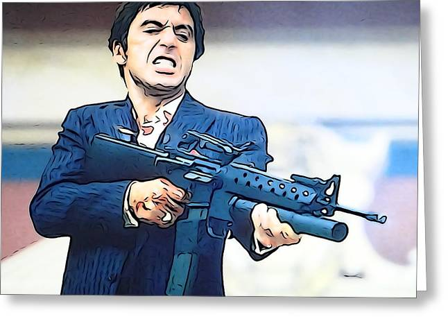 Italian Cinema Greeting Cards - Tony Montana Greeting Card by Clarence Williams